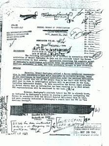 FBI document met doorhalingen en aantekeningen