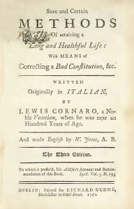 Titelblad van uitgave uit 1740 van boek 'Long and Healthful Life', vertaling van boek Luigi Cornaro
