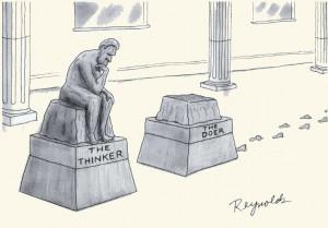 Cartoon 'thinker and doer' door Dan Reynolds
