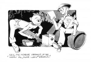 """Illustratie van Jan Huizinga in 'De Wapenbroeders"""""""
