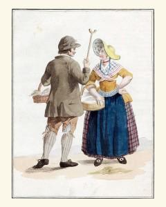 Een Schouwze Boer en Boerin in afspraak om naar de markt te Zirikzee te gaan (uit: het besproken boek, prent 14)