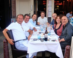 vlnr.: Diederick, Edwin de Vries, Fred Boot, Robin de Levita, Tom Harriman, Pamela Oland en Theu Boermans