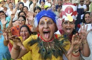 Bijeenkomst van een lachclub in India