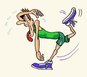 Uitgeputte hardloper (cartoon)